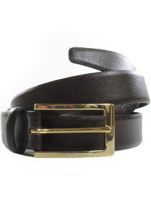 Wills Vegan 3cm Belt - Dark Brown / Gold colour buckle