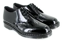Vegetarian Shoes Vegan 3 Eye Shoe - Black Patent