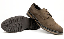 Wills Vegan Continental Brogues - Brown Faux Suede