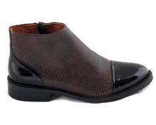 Lorena Boot - Black / Textured Brown