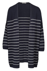 Gladis Striped Cardy - Navy / White