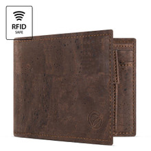 Cork wallet with coin pocket - Dark brown