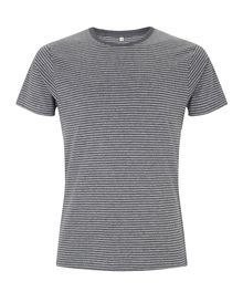Organic Cotton Striped T - Black Marl / Heather