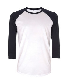 Unisex Organic 3/4 Sleeve Baseball Top - White / Navy