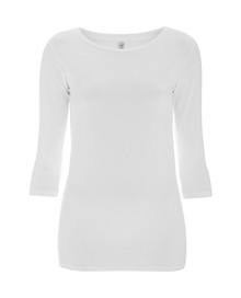3/4 Sleeve Stretch Top - White