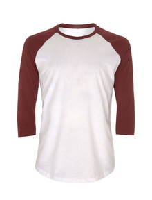 Unisex Organic 3/4 Sleeve Baseball Top - White / Burgundy