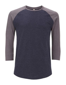 Recycled 3/4 Sleeve Baseball Top - Navy / Heather