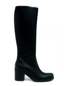 Andrea Heeled Knee Boot - Black