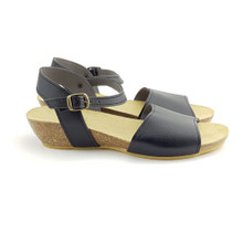 Paris Low Wedge (Thick Strap) - Black
