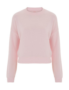 Cropped Sweatshirt (Womens) - Light Pink