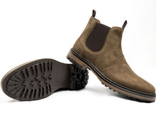 Wills Vegan Continental Chelsea Boots - Brown Faux Suede