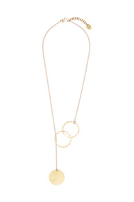 Threaded Disc Necklace - Brass