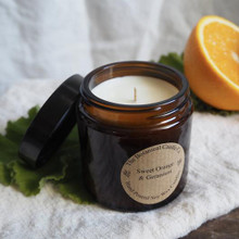 Soy Wax Candle - Glass Jar / Sweet Orange & Geranium