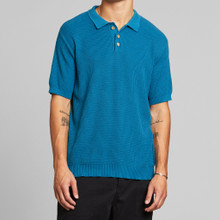 Gnesta Knitted Polo - Petrol Blue