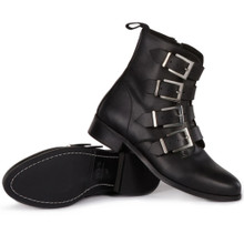 4 Strap Biker Boot - Black
