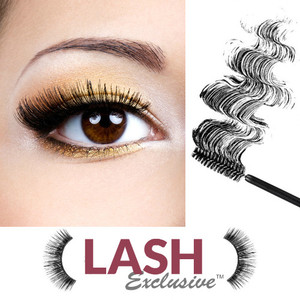 natural mascara for sensitive eyes Lash Exclusive long wearing, build lush, thick, long lashes, vegan, no eye irritation, no flaking or clumping, leaves lashes soft and supple all day, no dyes or lakes or polyvinyl or silicone