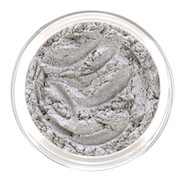 Loose mineral eye shadow shade in high glam silver with a polished sheen similar in color and sparkle of rosebud petals tipped with sterling. Beautiful highlighter for eye or brow. This unique silver will tend to mirror whatever other shade you put it with. Has subtle hint of sparkle for that enchanted evening.
