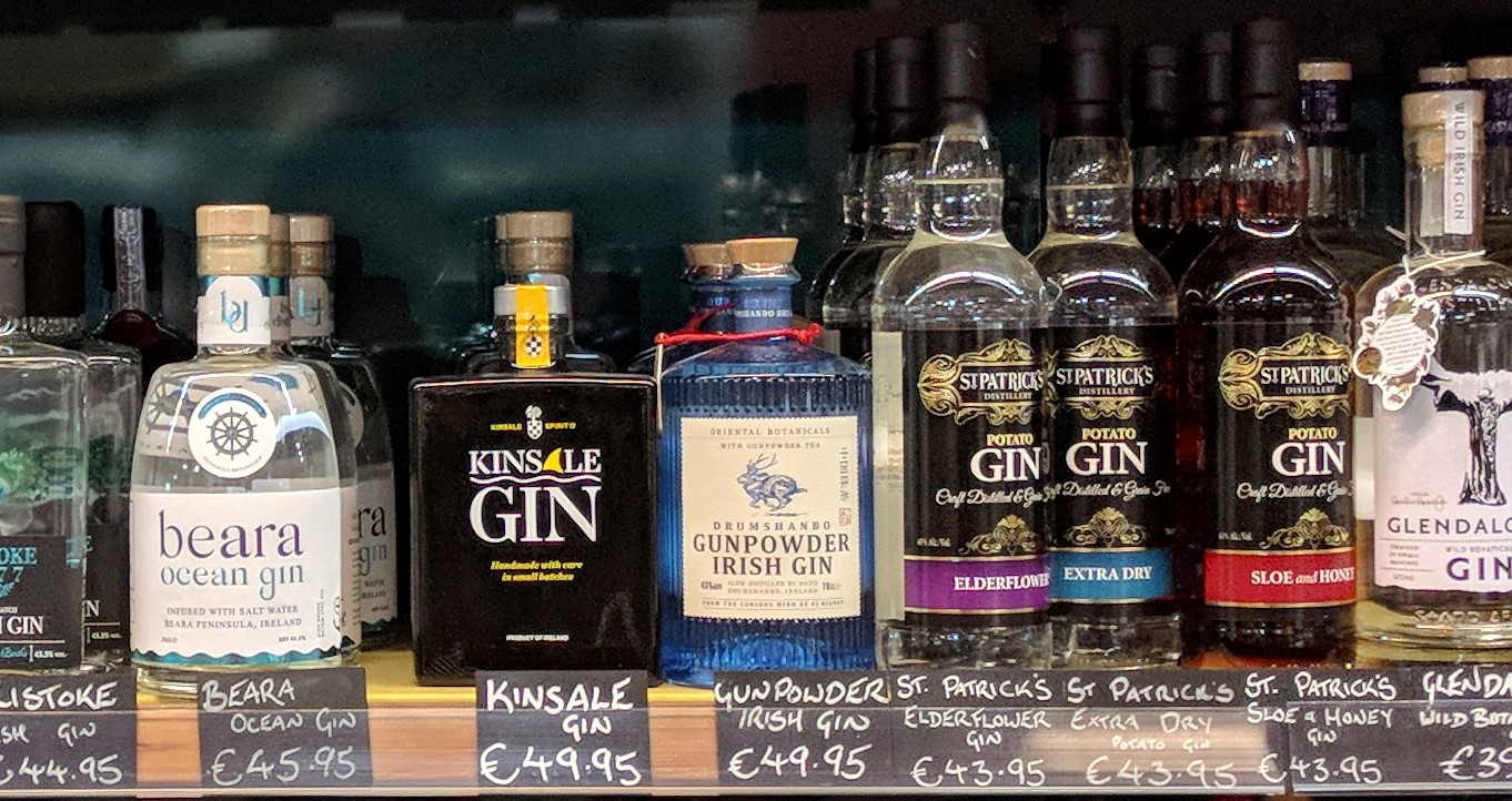 Drumshanbo Gunpowder Irish Gin on the shelf at Bradley's