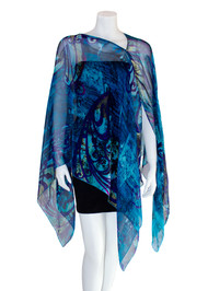 Diva Drape in Blue Gothic Swirls