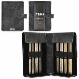 "Lykke Driftwood 6"" DPNs Set: Small Gauges (US 0-5), Grey Case"