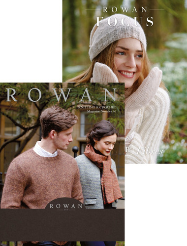Rowan Magazine #66 is a set of two softcover books; Bookbound and Focus - Natural Fibers