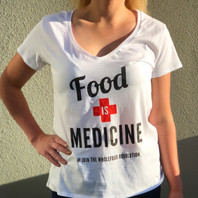 Ladies White V-Neck - front.