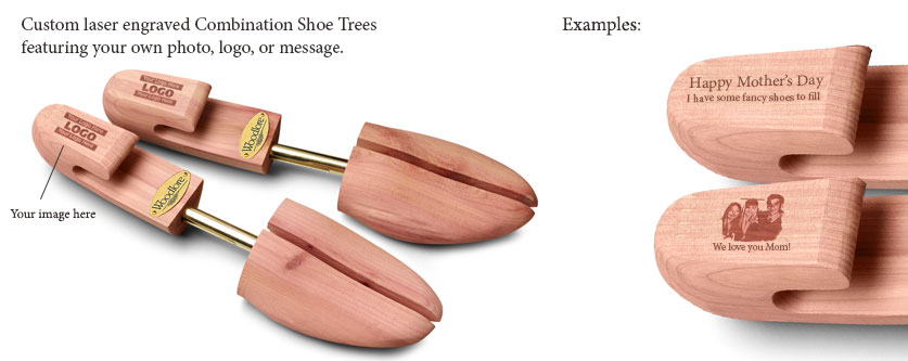 Personalize Women's Combination Cedar Shoe Tree - Laser Engraved