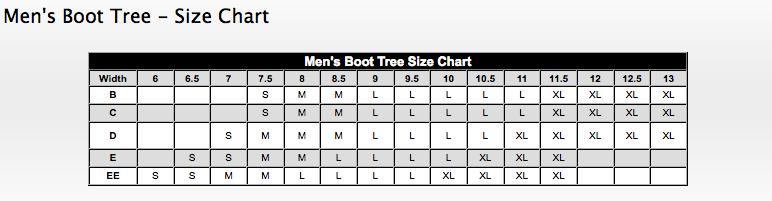 Mens Shoe Tree Sizes