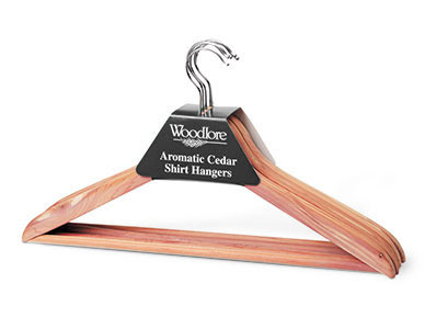 Woodlore Basic Cedar Hanger with bar - Package of 5