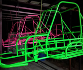 MIT Powder Coatings - Neon Pink PESP-670-G9 & Neon Green PESGR-670-SG6 - Photo Submitted by Short Iron Fab