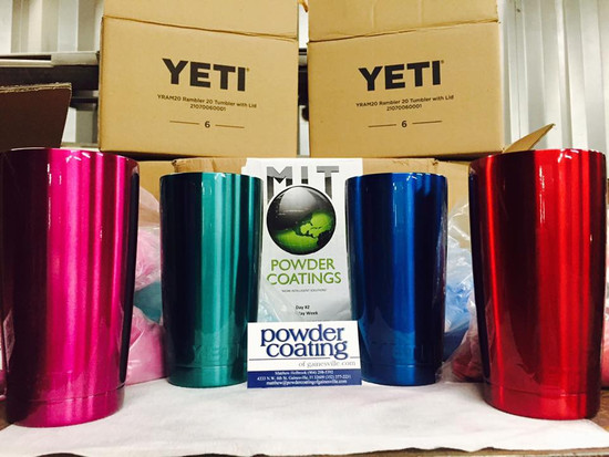MIT Powder Coatings - Candy Raspberry PESP-680-SG6, Candy Teal PESBL-680-G9, Candy Blue PESBL-681-G9, and Candy Red PESR-680-SG6 (left to right)  -Yeti Rambler Photo submitted by Matthew Holbrook