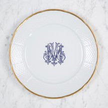 BAIZER-MOON WEDDING WEAVE GOLD RIMMED DINNER PLATE WITH MONOGRAM