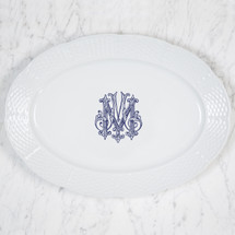BAIZER-MOON WEDDING WEAVE OVAL PLATTER WITH MONOGRAM