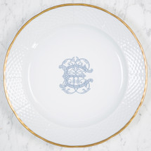 NELSON-EBINGER WEDDING WEAVE 24K GOLD CHARGER PLATE WITH MONOGRAM