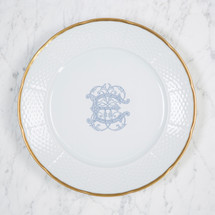 NELSON-EBINGER WEDDING WEAVE 24K GOLD DINNER PLATE WITH MONOGRAM
