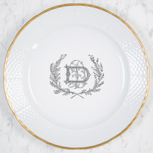 DEORSAM-DUGE WEDDING WEAVE 24K GOLD CHARGER PLATE WITH MONOGRAM