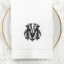 BAIZER-MOON WEDDING EMBROIDERED GUEST TOWEL W/ HEMSTITCHING-BLACK