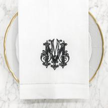 Clote-Wood Embroidered Napkin w/Hemstitching | White W