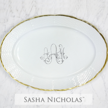 Alfieri-Alexander Weave 24K Gold Oval Platter With Handwritten Message
