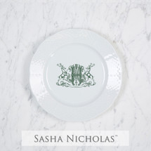 A beautiful addition to your dinnerware collection and to adorn your tablescapes with. It makes the perfect gift for your wedding registry and has the option to include an inscription on back. Choose from their signature font styles or use a custom monogram or crest of your choice! | Sasha Nicholas's white porcelain weave salad