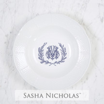 A beautiful addition to your dinnerware collection and to adorn your tablescapes with. It makes the perfect gift for your wedding or gift registry. Choose from their signature font styles or use a custom monogram or crest of your choice! | Sasha Nicholas's white porcelain weave rim soup