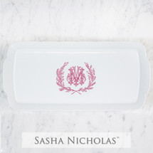 A beautiful addition to your dinnerware collection and to adorn your tablescapes with. It makes the perfect gift for your wedding registry and has the option to include an inscription on back. Choose from their signature font styles or use a custom monogram or crest of your choice! | Sasha Nicholas's white porcelain weave hostess platter