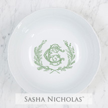 A beautiful addition to your dinnerware collection and to adorn your tablescapes with. It makes the perfect gift for your wedding or gift registry. Choose from their signature font styles or use a custom monogram or crest of your choice! | Sasha Nicholas's white porcelain weave medium serving bowl
