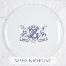 A beautiful addition to your dinnerware collection and to adorn your tablescapes with. It makes the perfect gift for your wedding registry and has the option to include an inscription on back. Choose from their signature font styles or use a custom monogram or crest of your choice! | Sasha Nicholas's Imagine dinner