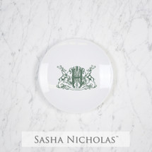 A beautiful addition to your dinnerware collection and to adorn your tablescapes with. It makes the perfect gift for your wedding registry and has the option to include an inscription on back. Choose from their signature font styles or use a custom monogram or crest of your choice!   Sasha Nicholas's Imagine party plate