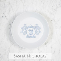 A beautiful addition to your dinnerware collection and to adorn your tablescapes with. It makes the perfect gift for your wedding or gift registry. Choose from their signature font styles or use a custom monogram or crest of your choice! | Sasha Nicholas's Imagine white porcelain flat bottom bowl