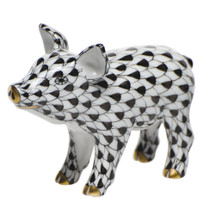 Millman-Pope Herend Little Pig Standing, Black