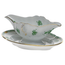 GATES-ENGLER HEREND CHINESE BOUQUET GRAVY BOAT, GREEN