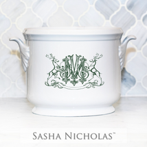 BAIZER-MOON WEDDING CHAMPAGNE BUCKET WITH STAG CREST