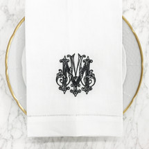 Veal-Weiche White Linen Hand Towel | Couture Monogram - Gray W